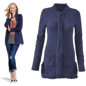 CAbi Style 181 Duchess Fringe Cardigan Blue Size M
